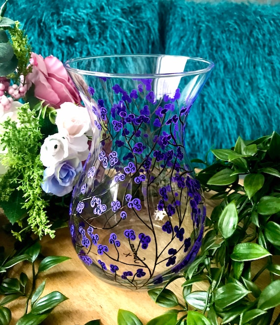 Hand Painted Purple Berry Vase / For her / Birthday Gift / Bridesmaid Present /Home Decor / Wedding Gift / Unique Gift