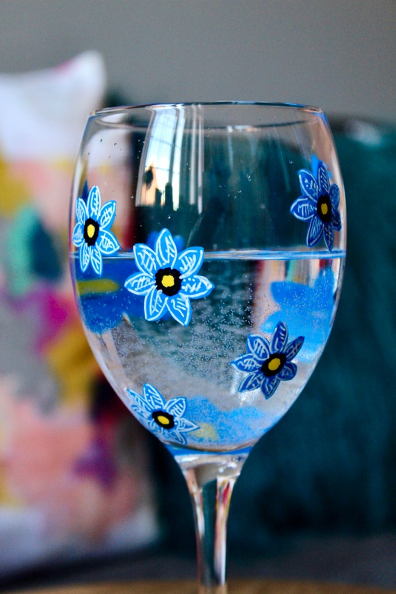 Blue Forget-Me-Not Hand Painted Wine Glass / For her / Birthday Gift / Bridesmaid Present /Gift for Wine Lovers / Wedding Gift / Unique Gift