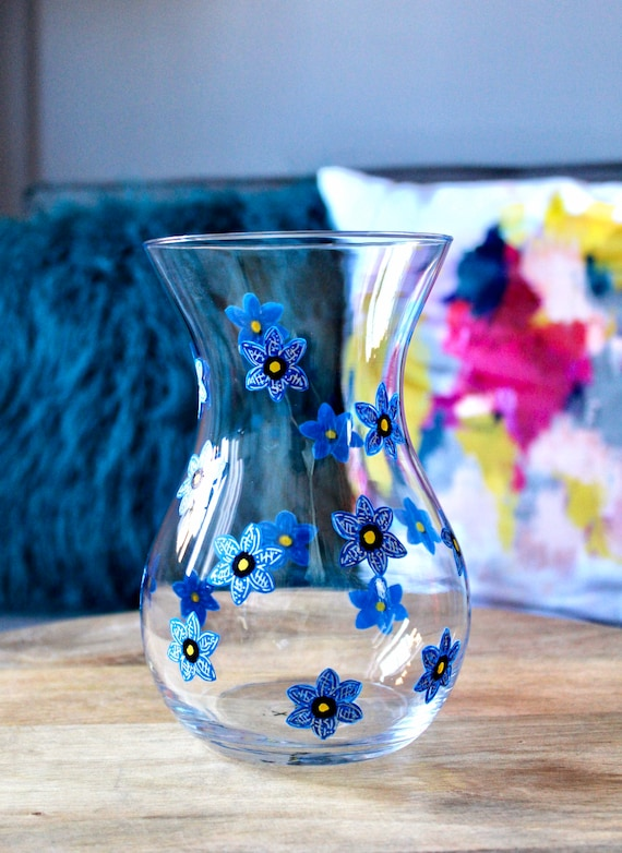 Hand Painted Blue Forget-Me-Not Vase / For her / Birthday Gift / Bridesmaid Present /Home Decor / Wedding Gift / Unique Gift