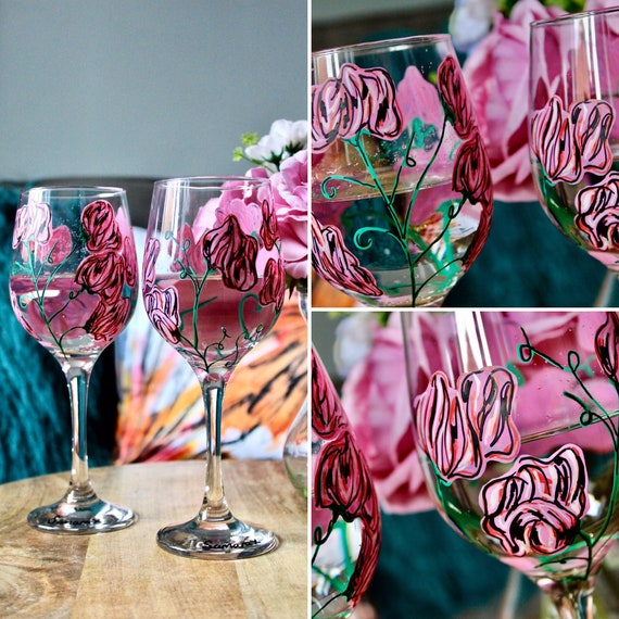 Pink Sweet Pea Wine Glass Hand Painted / For her / Birthday Gift / Bridesmaid Present /Gift for Wine Lovers / Wedding Gift / Unique Gift