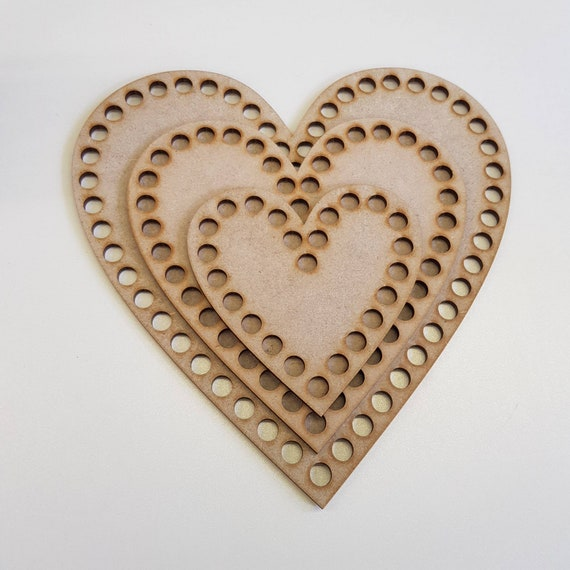 Wooden Heart MDF Set Of 2 with holes