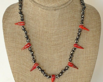 """lampwork glass """"dynamite"""" and African ceramic necklace and earring set"""