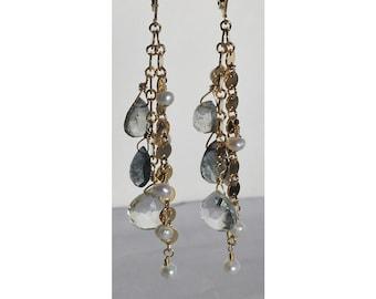 London blue topaz, green quartz, and pearl earrings