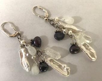 pearl, moonstone, and quartz crystal earrings