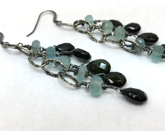 olive tourmaline and apatite earrings