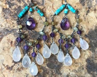 Chalcedony, amethyst, turquoise and green garnet chandelier earrings