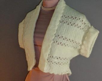 50s Sweater Vintage 1950s SILVER LUREX WHITE cream sparkly knit bolero top cropped sweater