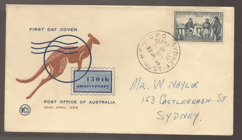 Birth Of Post Office Australia 1959 Stamp Wcs Fdc First Day Cover