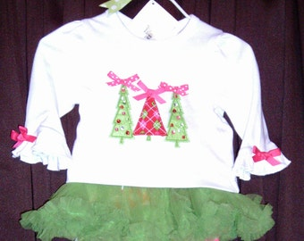 c090cc307 Baby Girls White Pink and Lime Christmas Tree Holiday Set, Size 0-6Months,  Infant Girls Christmas Outfit, Ready to Ship New with Tags A16