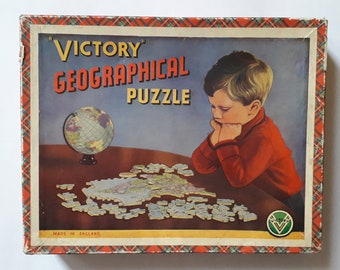 1940s/50s wooden Jigsaw Puzzle by Victory depicting post war Europe