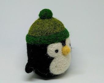 Little Penguin - Needle Felted Wool Plushie - Desk Companion - Handmade, Unique, OOAK - Free Standard Shipping