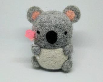 Tiny Koala - Needle Felted Wool Plushie - Stuffed Animal - Desk Companion - Nursery Decor - Handmade, Unique, OOAK - Free Standard Shipping