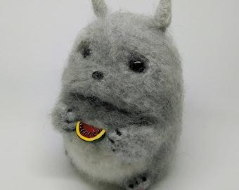 Totoro Eating Watermelon - Needle Felted Wool Plushie - Stuffed Animal - Desk Companion - Handmade, Unique, OOAK - Free Standard Shipping