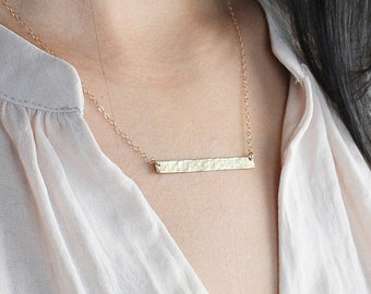 Hammered Long Skinny Bar Necklace / Name plate Long Bar / Bridesmaids gifts/ Gifts for her/ Silver, Gold or Rose Gold Engraved Bar Necklace.