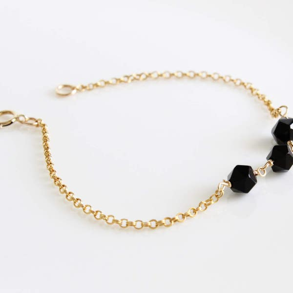 Dainty Black Jet Link Bracelet 14K Gold filled Rose Gold image 3