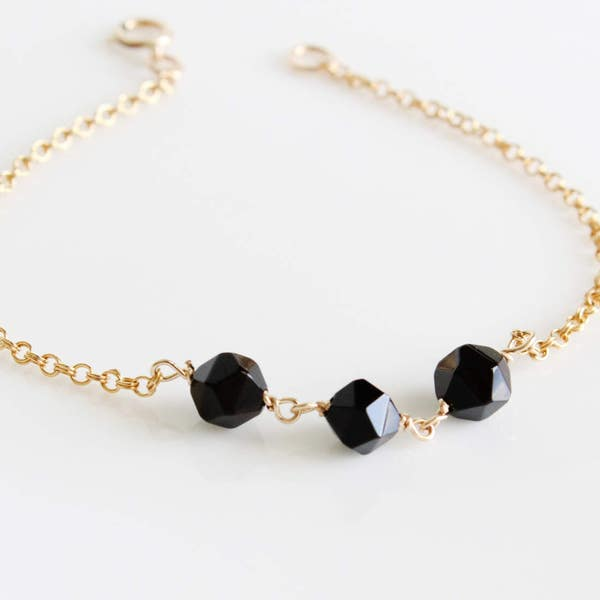 Dainty Black Jet Link Bracelet 14K Gold filled Rose Gold image 2