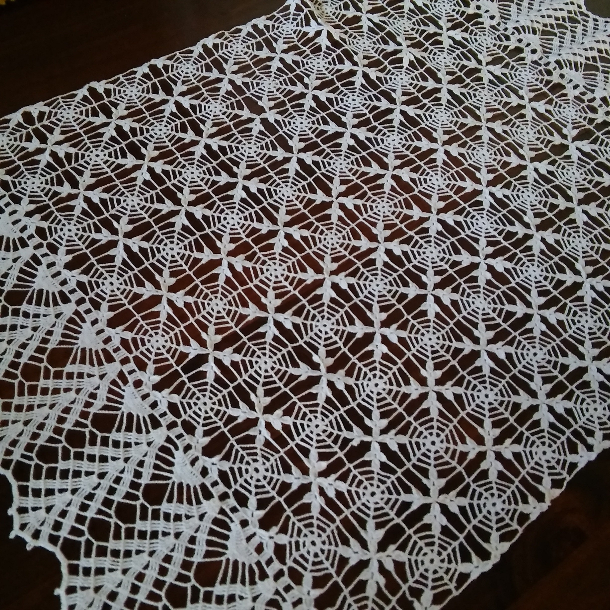 31 X 20spiderweb Crochet Tablecloth Lace Etsy