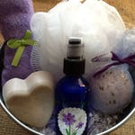Calm & Relaxing Lavender Bath Basket,  Pure lavender Essential Oil, Spray Mist, Bath Bomb, Heart Soap, Lavender Bamboo Cloth, Soap Puff