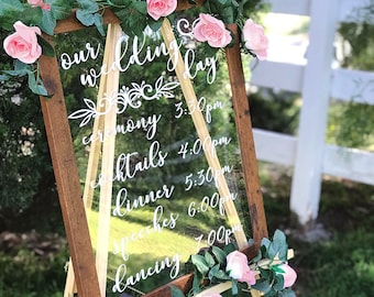 "Clear Wedding Timeline Sign in Frame - 16"" x 20"" See Through, Transparent Event Schedule Sign, Bridal Shower, Engagement Party, Baby Shower"