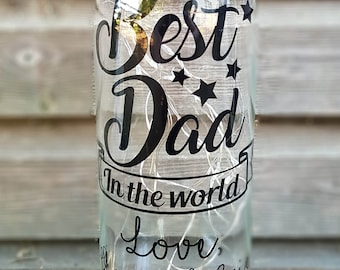 Father's day bottle light best dad in the world personalised customised gift wrapped