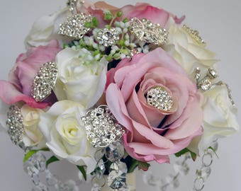 Bridal wedding brooch bouquet pink and white artificial silk roses with diamante embellishment