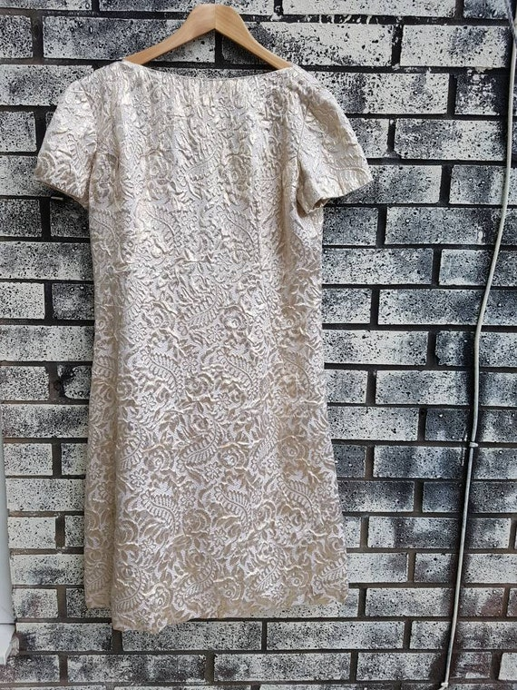 Stunning Jacquard Slimuette Gold Evening Dress With Bow Detail Etsy