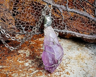 Raw Amethyst Crystal Point * Sterling Silver Pendant Necklace * Healing Crystal * Handcrafted OOAK