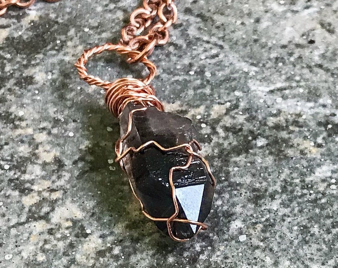 Black Smokey Quartz Crystal Point | Copper Hand-Wrapped  | OOAK Pendant Necklace