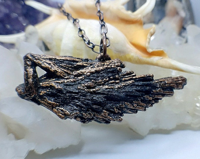 Sea Life Inspired Raw Black Kyanite Blade | Copper Electroformed | OOAK Pendant Necklace