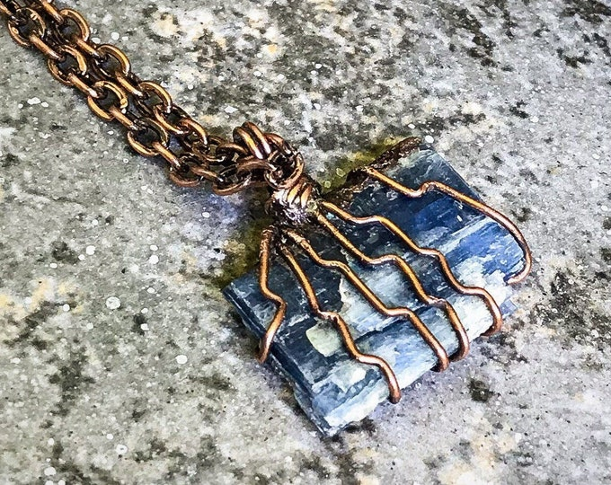 Raw Blue Kyanite | Hand-Wrapped | Copper Electroformed | OOAK Pendant Necklace