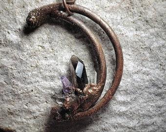 Crescent Moon Pendant * Natural Smokey Quartz Crystal * Raw Amethyst Crystal * 2 Clear Quartz Crystals * Handcrafted OOAK Copper Pendant