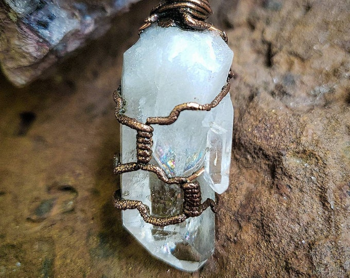 Mother & Child Clear Quartz Crystal | Rainbow Inclusions | Copper Hand-Wrapped | OOAK Pendant  Necklace