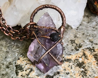 Raw Amethyst Point w/ Lava Stone  for Essential Oils * Goethite Inclusions * Copper Hand Wrapped * Copper Electroformed Pendant
