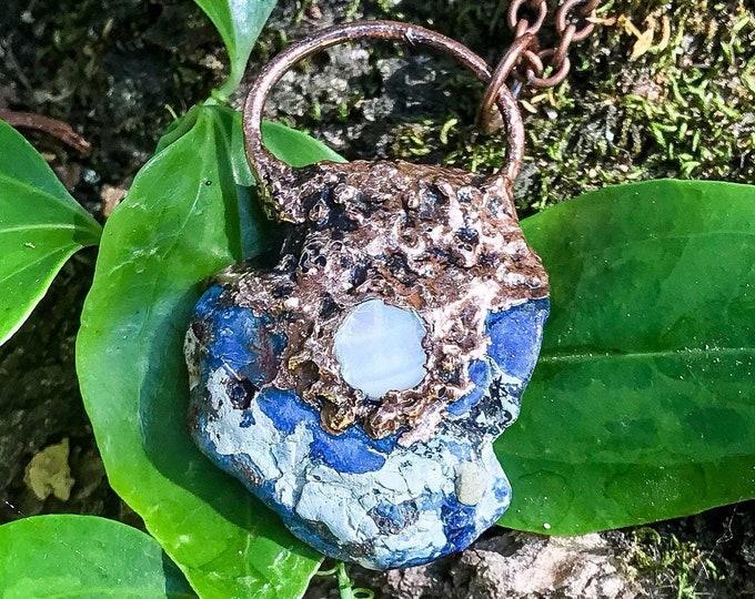 Blue Imperial Jasper Crystal | Natural Mother Of Pearl |  Copper Electroformed | OOAK Pendant Necklace
