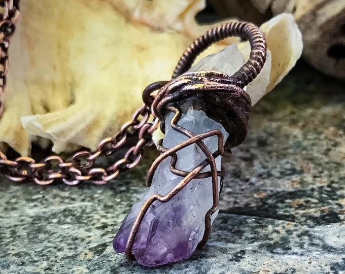 Natural Amethyst Crystal Point | Hand-Wrapped | Copper Electroformed | OOAK Pendant Necklace