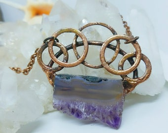 Raw Amethyst Slice Crystal | Rainbow inclusions  | OOAK Pendant Necklace