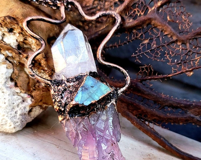 Large Purple Raw Amethyst with Clear Crystal Point and Raw Labradorite | OOAK  Necklace