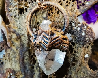 Clear Raw Arkansas Crystal Point from * Copper Electroformed  * Pendant Necklace * Handcrafted  OOAK * Oxidized * Nature Inspired