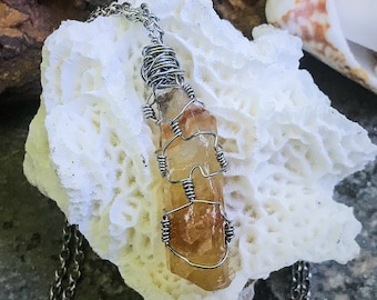 Amber Honey Raw Calcite Crystal | Stainless Steel Hand-Wrapped | OOAK Handmade Pendant Necklace