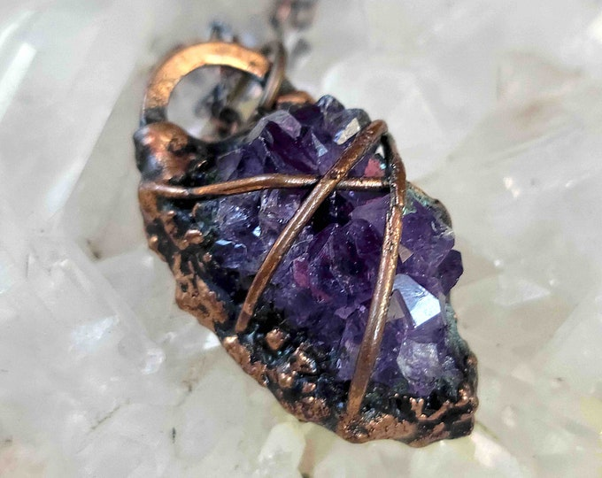 Raw Amethyst Crystal Cluster | Copper wrapped and Electroformed | OOAK Pendant Necklace