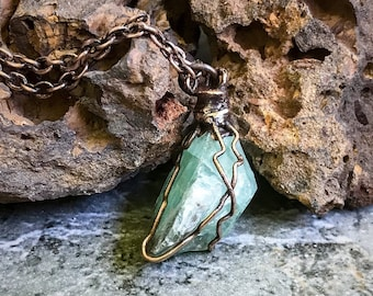 Beach Inspired Vibrant Green Raw Calcite Pendant * Copper Hand-Wrapped * Copper Electroformed * Pendant Necklace * Handcrafted OOAK