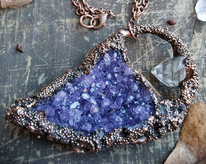 Featured listing image: Freeform Amethyst Cluster Copper Electroformed Necklace * Raw Natural Clear Quartz Arkansas Crystal Points* Handcrafted Boho Crystal Pendant