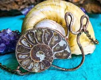 Ammonite Fossil Snail Pendant - Hand Crafted OOAK Copper Electroformed Necklace - Nature Inspired Boho Pendant Necklace