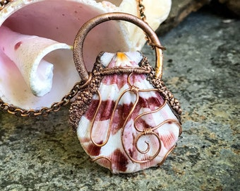 Natural Sea Shell Pendant Necklace - Hand-Wrapped Copper Electroformed - Beach Inspired * Necklace Jewelry - Handcrafted OOAK