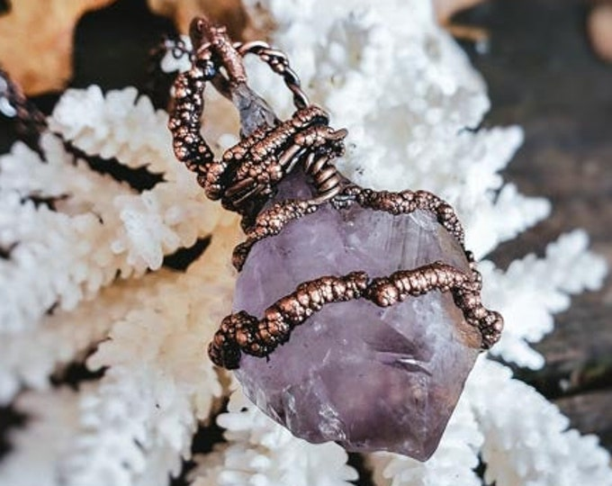 Raw Amethyst Crystal Point | Hand-Wrapped | Copper Electroformed | OOAK Pendant Necklace