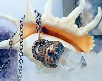 Acorn Raw Quartz Crystal Point |  Copper Electroformed | OOAK Pendant Necklace