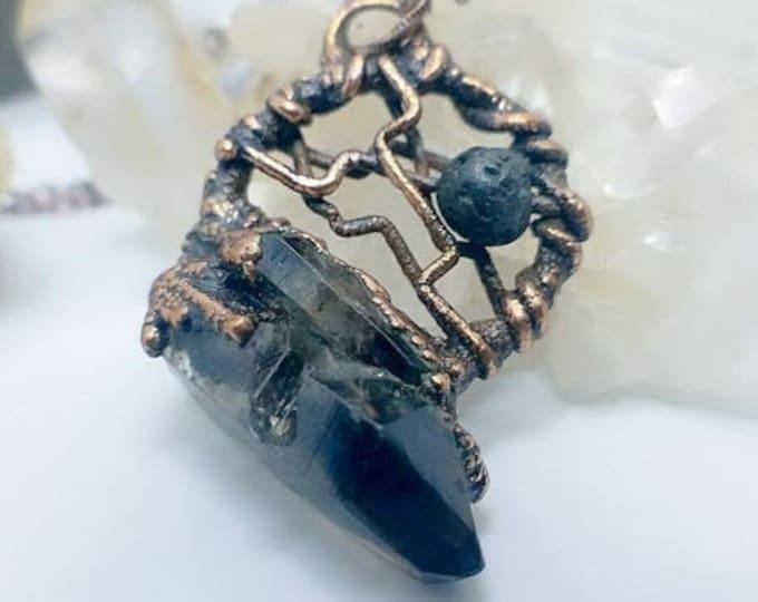 Smokey Quartz Cluster |  Lava Stone Aromatherapy Diffuser | OOAK Pendant Necklace