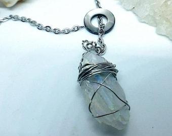 "Rainbow Aurora Crystal | Abalone Donut Slider | 26"" Stainless Steel revolving Necklace | OOAK Handmade Pendant"