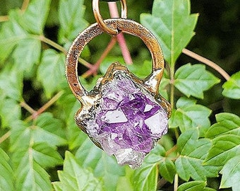 Raw Amethyst Cluster Pendant * Natural Amethyst Crystal Jewelry * Nature Inspired Every Day Wear Necklace * Copper Electroformed Jewelry