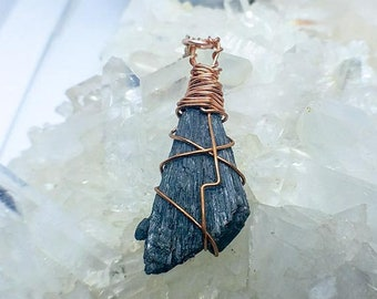 Black Raw Kyanite Blade | Copper Hand-Wrapped | OOAK Handmade Pendant Necklace
